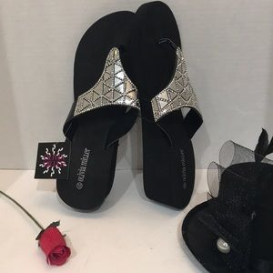 Olivia Miller Women's Thong Wedge Sandals Size 10